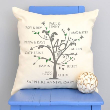 Personalised Sapphire Anniversary Family Tree Cushion
